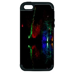 Illuminated Trees At Night Near Lake Apple Iphone 5 Hardshell Case (pc+silicone)