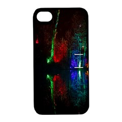 Illuminated Trees At Night Near Lake Apple Iphone 4/4s Hardshell Case With Stand