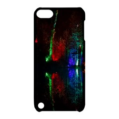 Illuminated Trees At Night Near Lake Apple Ipod Touch 5 Hardshell Case With Stand