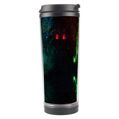 Illuminated Trees At Night Near Lake Travel Tumbler