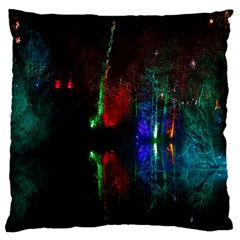 Illuminated Trees At Night Near Lake Large Flano Cushion Case (one Side)