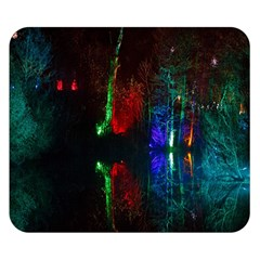 Illuminated Trees At Night Near Lake Double Sided Flano Blanket (Small)