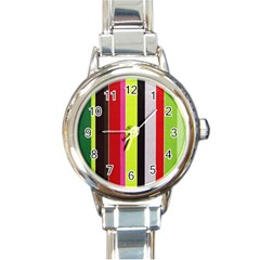 Stripe Background Round Italian Charm Watch