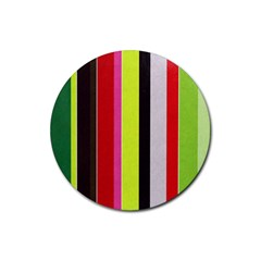 Stripe Background Rubber Coaster (Round)
