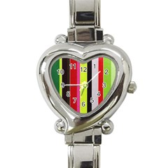 Stripe Background Heart Italian Charm Watch