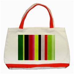Stripe Background Classic Tote Bag (red)