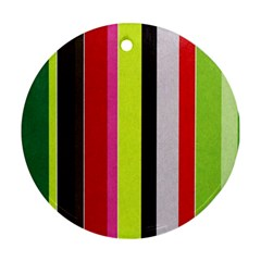 Stripe Background Round Ornament (two Sides)