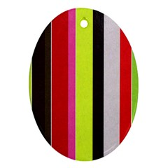 Stripe Background Oval Ornament (Two Sides)