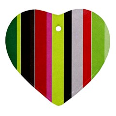 Stripe Background Heart Ornament (two Sides)