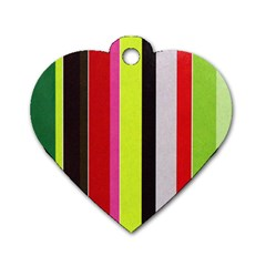 Stripe Background Dog Tag Heart (Two Sides)