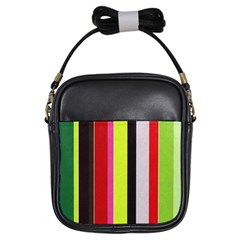 Stripe Background Girls Sling Bags