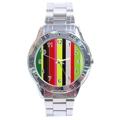 Stripe Background Stainless Steel Analogue Watch