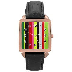 Stripe Background Rose Gold Leather Watch