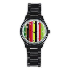 Stripe Background Stainless Steel Round Watch