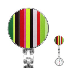 Stripe Background Stainless Steel Nurses Watch