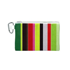Stripe Background Canvas Cosmetic Bag (S)