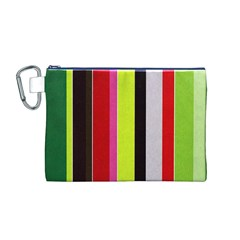 Stripe Background Canvas Cosmetic Bag (m)