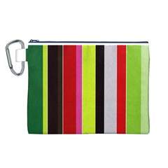 Stripe Background Canvas Cosmetic Bag (l)
