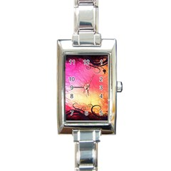 Floral Frame Surrealistic Rectangle Italian Charm Watch