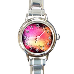 Floral Frame Surrealistic Round Italian Charm Watch