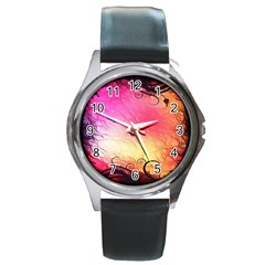 Floral Frame Surrealistic Round Metal Watch