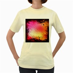 Floral Frame Surrealistic Women s Yellow T-Shirt