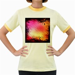 Floral Frame Surrealistic Women s Fitted Ringer T Shirts