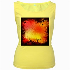 Floral Frame Surrealistic Women s Yellow Tank Top