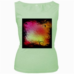 Floral Frame Surrealistic Women s Green Tank Top