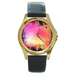 Floral Frame Surrealistic Round Gold Metal Watch