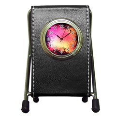 Floral Frame Surrealistic Pen Holder Desk Clocks
