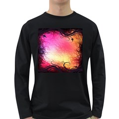 Floral Frame Surrealistic Long Sleeve Dark T Shirts