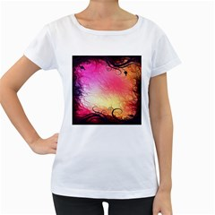 Floral Frame Surrealistic Women s Loose Fit T Shirt (white)