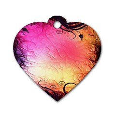 Floral Frame Surrealistic Dog Tag Heart (two Sides)