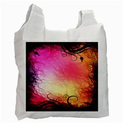 Floral Frame Surrealistic Recycle Bag (two Side)