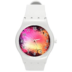 Floral Frame Surrealistic Round Plastic Sport Watch (M)