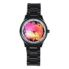 Floral Frame Surrealistic Stainless Steel Round Watch