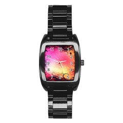 Floral Frame Surrealistic Stainless Steel Barrel Watch