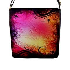 Floral Frame Surrealistic Flap Messenger Bag (l)