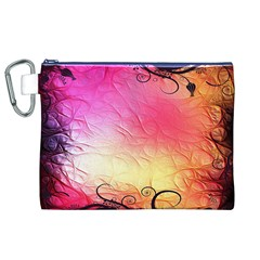 Floral Frame Surrealistic Canvas Cosmetic Bag (XL)