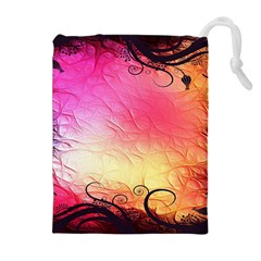 Floral Frame Surrealistic Drawstring Pouches (Extra Large)