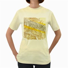 Abstract Composition Digital Processing Women s Yellow T Shirt