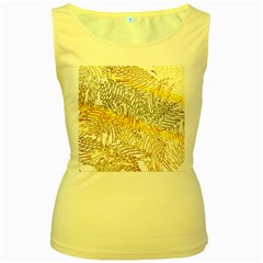 Abstract Composition Digital Processing Women s Yellow Tank Top