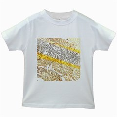 Abstract Composition Digital Processing Kids White T Shirts