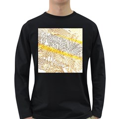 Abstract Composition Digital Processing Long Sleeve Dark T-Shirts