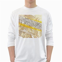 Abstract Composition Digital Processing White Long Sleeve T-Shirts