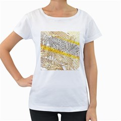 Abstract Composition Digital Processing Women s Loose-Fit T-Shirt (White)