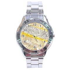Abstract Composition Digital Processing Stainless Steel Analogue Watch