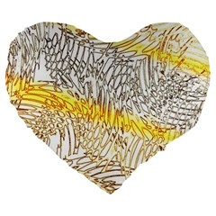 Abstract Composition Digital Processing Large 19  Premium Heart Shape Cushions
