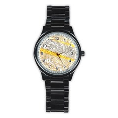Abstract Composition Digital Processing Stainless Steel Round Watch